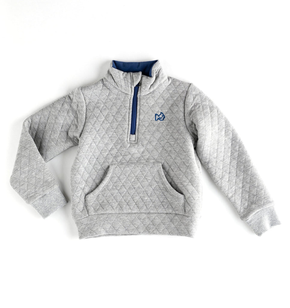 Quilted Quarter Zip in Quiet Grey  - Doodlebug's Children's Boutique