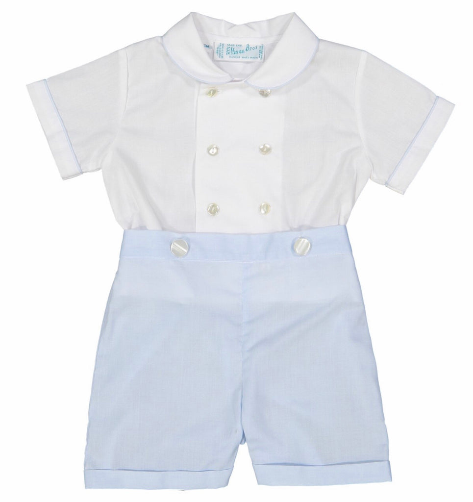 Double Breasted Bobby Suit in White and Blue  - Doodlebug's Children's Boutique