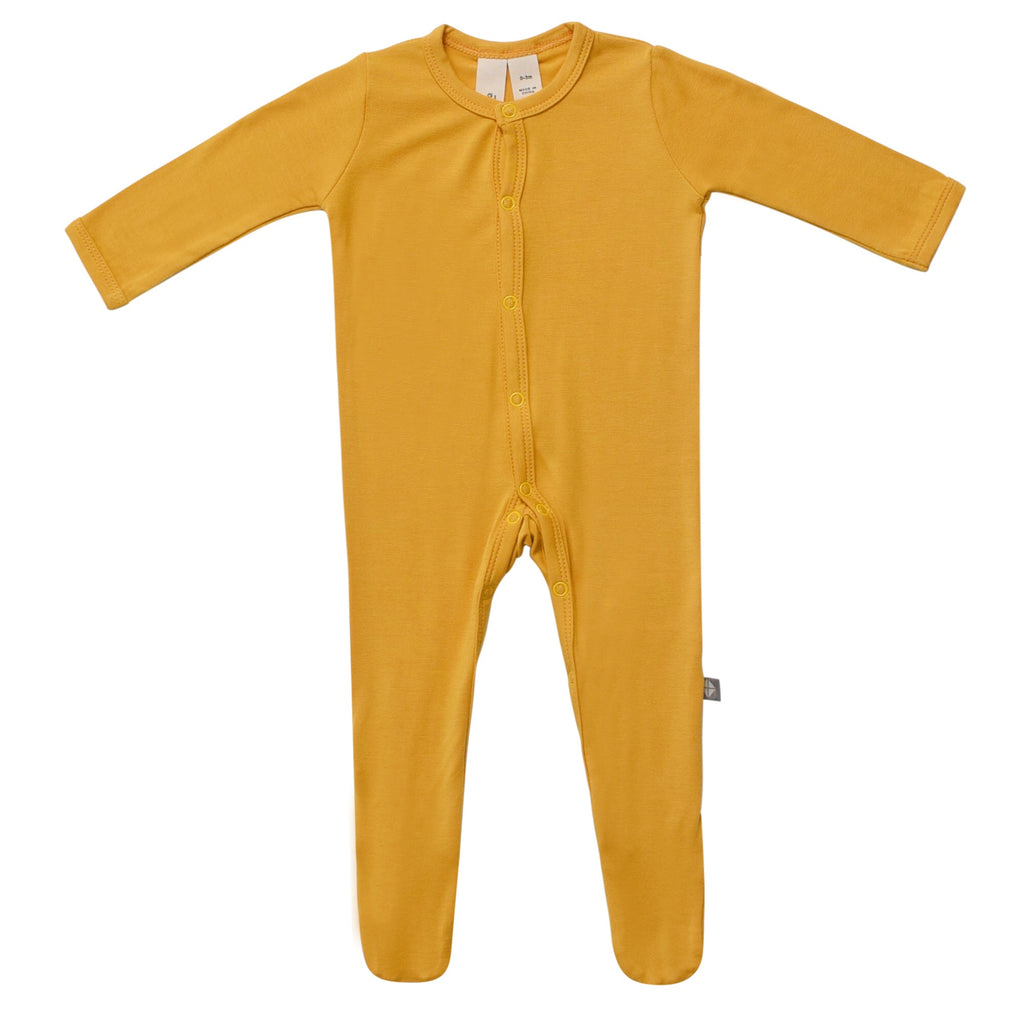Footie in Mustard Mustard / 0-3 months - Doodlebug's Children's Boutique