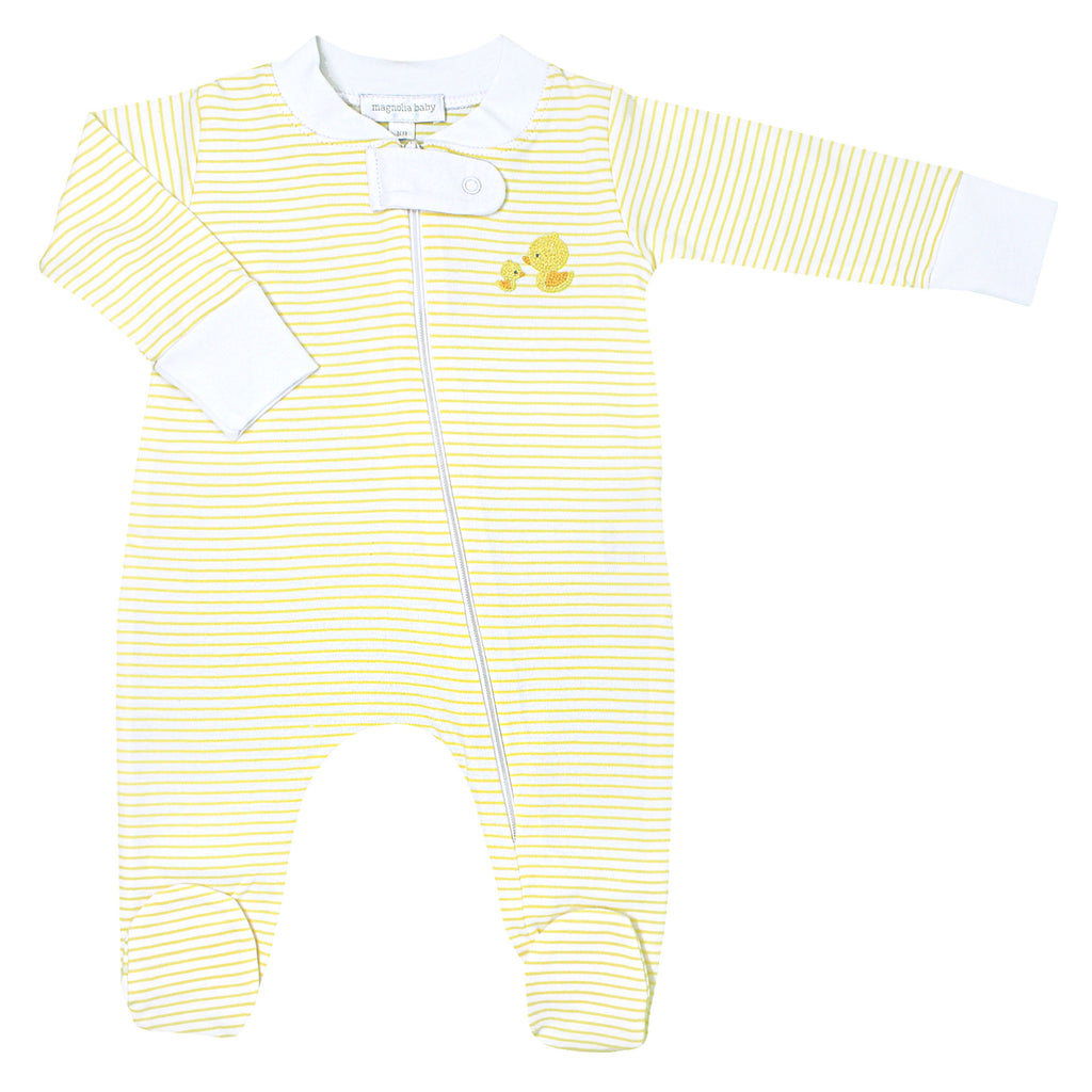 Tiny Rubber Duck Embroidered Zipped Footie  - Doodlebug's Children's Boutique