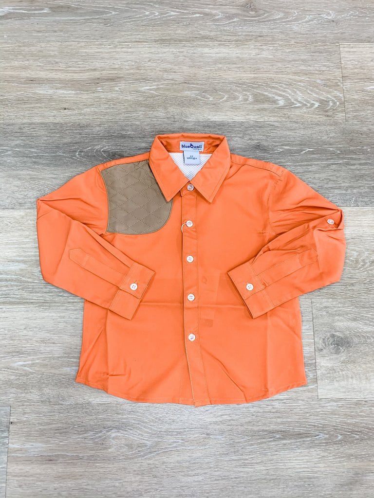Blaze Orange and Khaki Long Sleeve Shirt  - Doodlebug's Children's Boutique