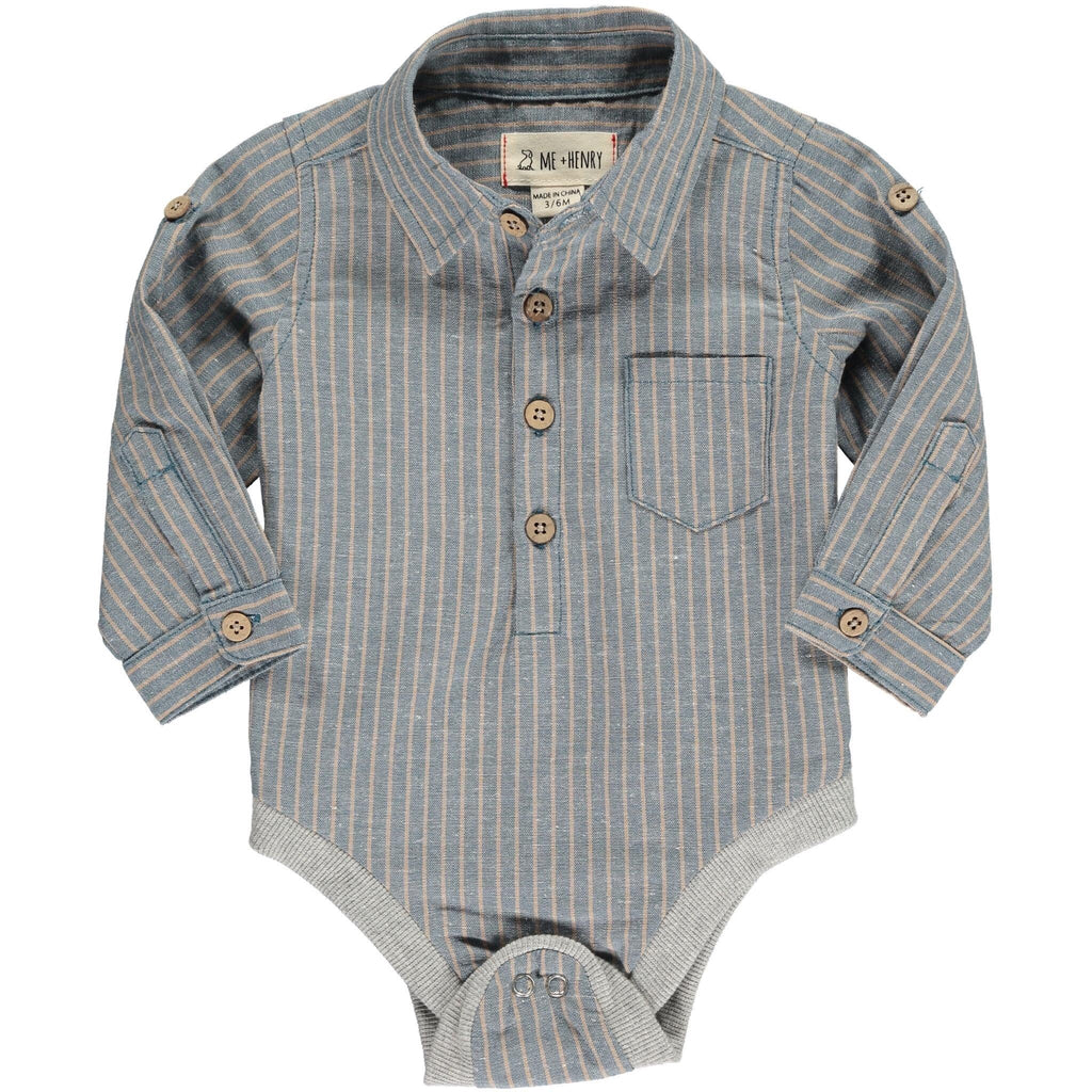 Me & Henry Long-Sleeved Button-Down Onesie
