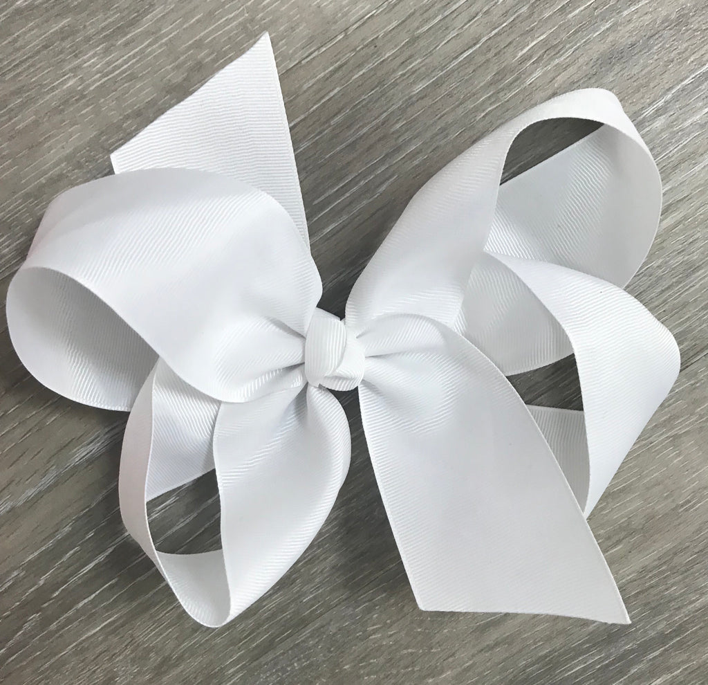 Large Solid Hair Bow in White White - Doodlebug's Children's Boutique