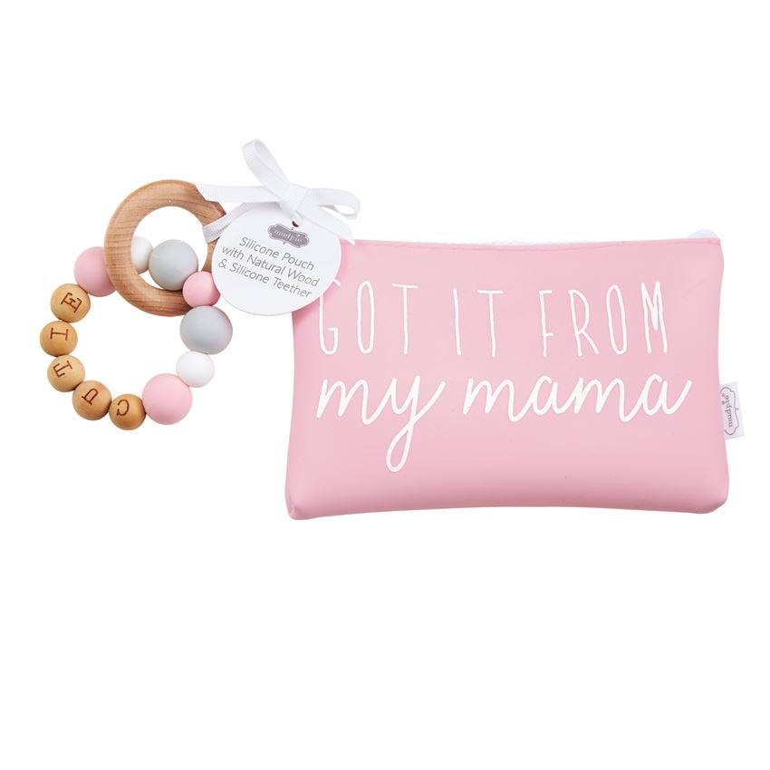 Mud Pie Pink Silicone Teether Pouch Set