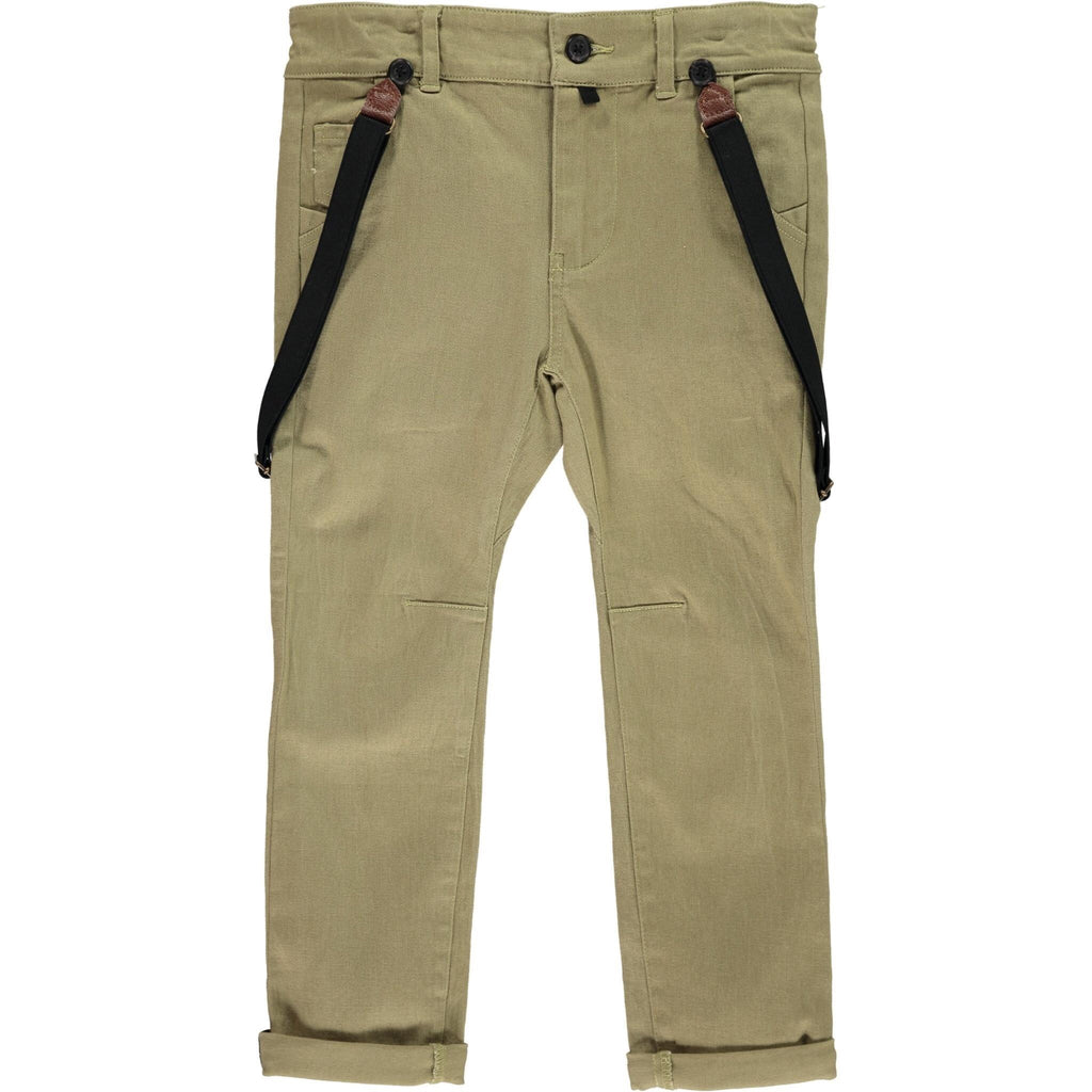 Olive Pants with Suspenders  - Doodlebug's Children's Boutique