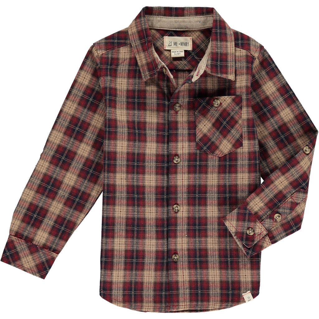 Long-Sleeved Plaid Shirt in Wine and Beige Wine/Beige / 2-3 years - Doodlebug's Children's Boutique