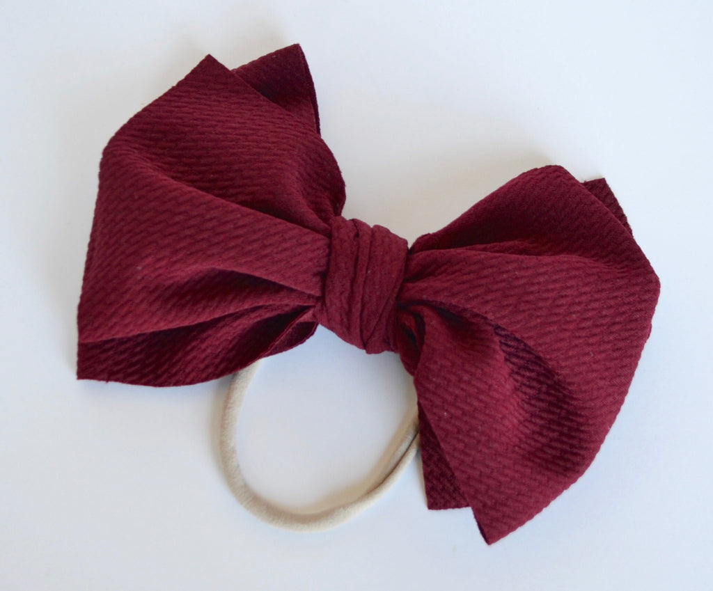 Burgundy Bella Bow Burgundy - Doodlebug's Children's Boutique