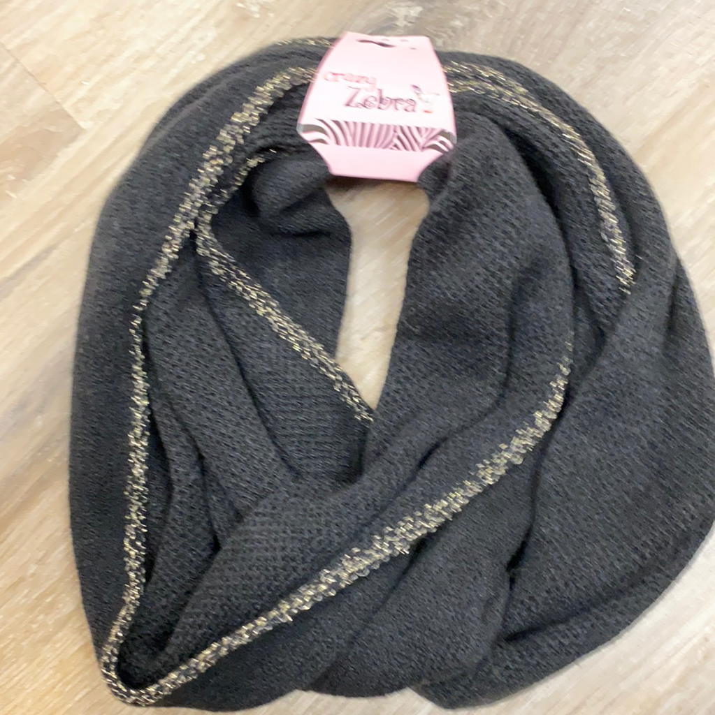Kids Glitter Infinity Scarf in Black  - Doodlebug's Children's Boutique