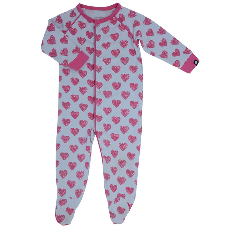 Sweet Bamboo Piped Footie Scribble Hearts / Newborn - Doodlebug's Children's Boutique