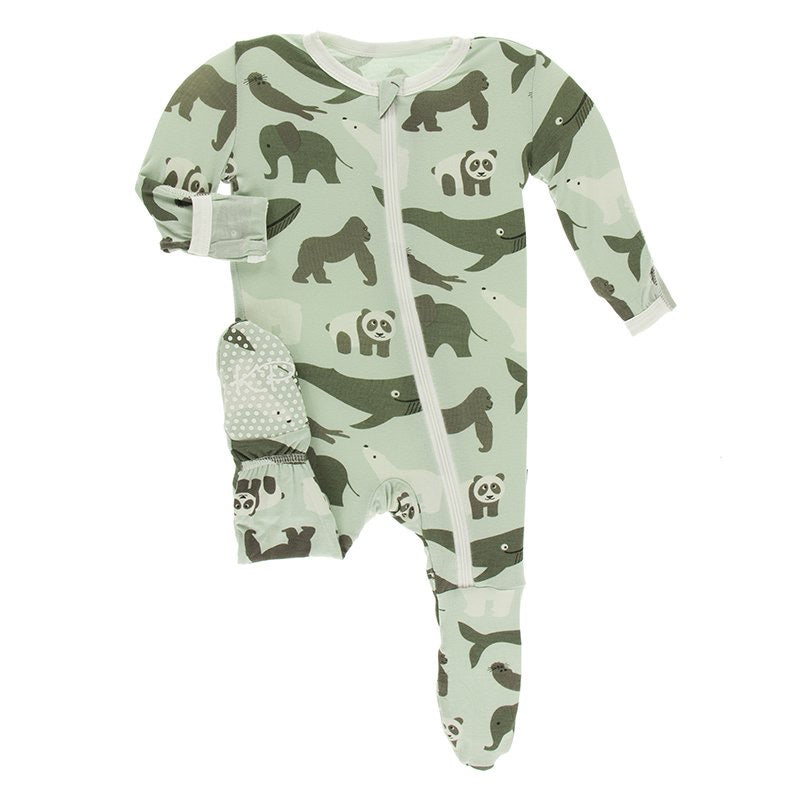 Print Footie with Zipper in Aloe Endangered Animals  - Doodlebug's Children's Boutique