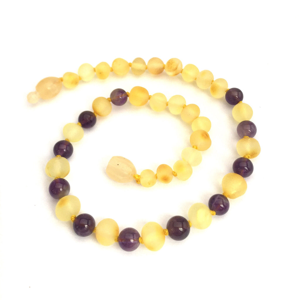 Baltic Amber Teething Necklace Raw Lemon and Amethyst  - Doodlebug's Children's Boutique