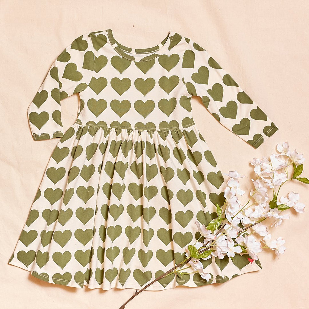 Organic Steph Dress in Capulet Olive Hearts