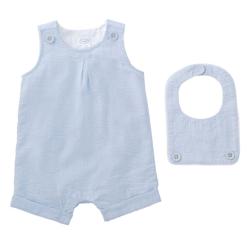 Seersucker Shortall and Bib Set in Blue  - Doodlebug's Children's Boutique