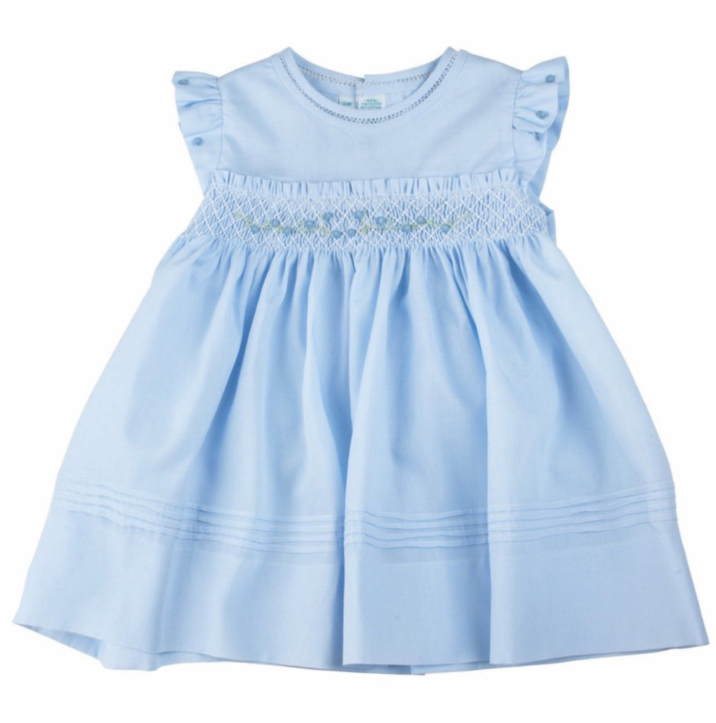 Feltman Brothers Rose Garden Collection Fly Sleeve Smocked Dress Blue / 6 mo - Doodlebug's Children's Boutique