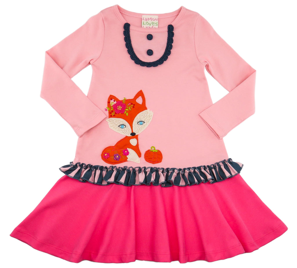 Autumn Fox Dress Rose Shadow / 2 - Doodlebug's Children's Boutique