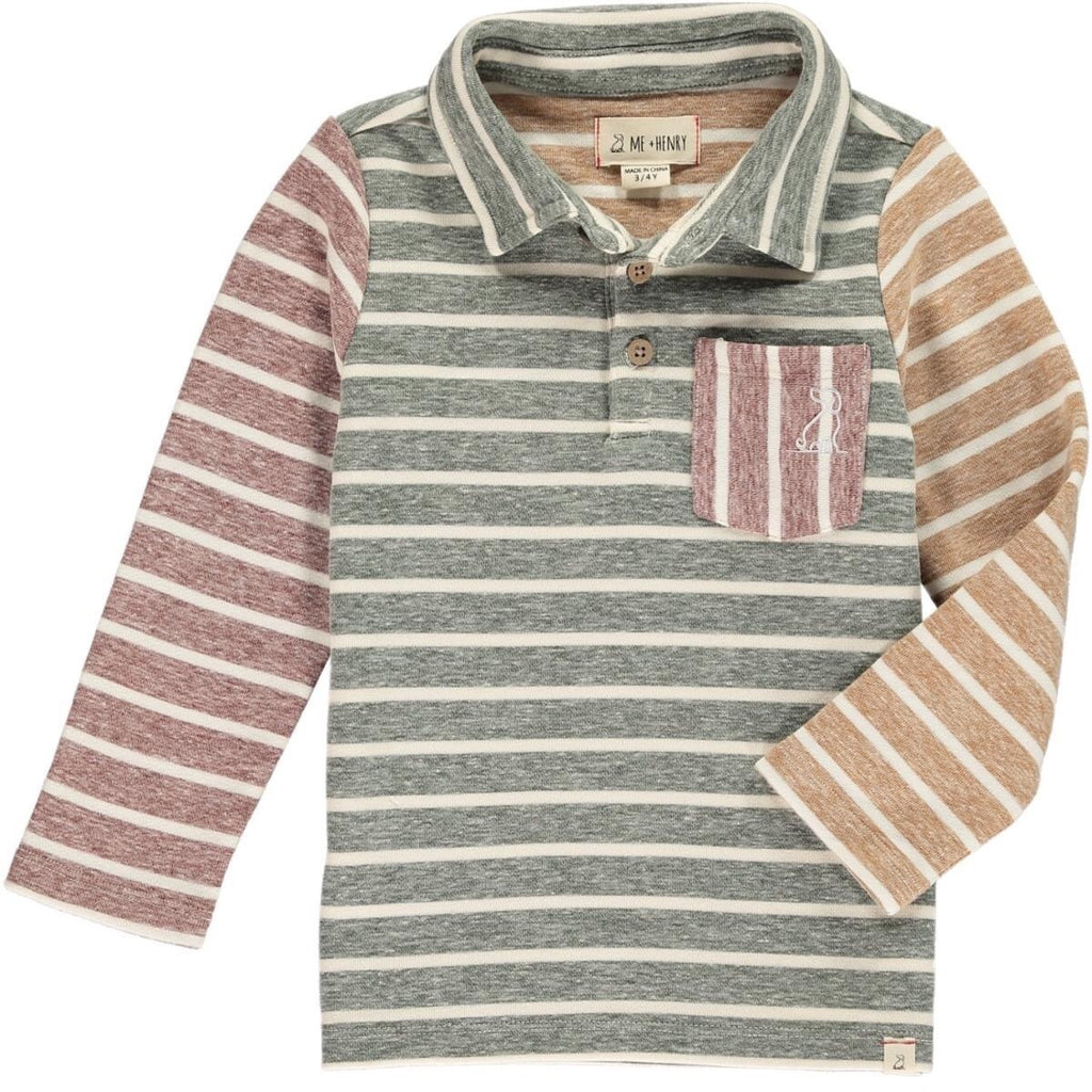 Green Multi Stripe Long Sleeved Polo  - Doodlebug's Children's Boutique