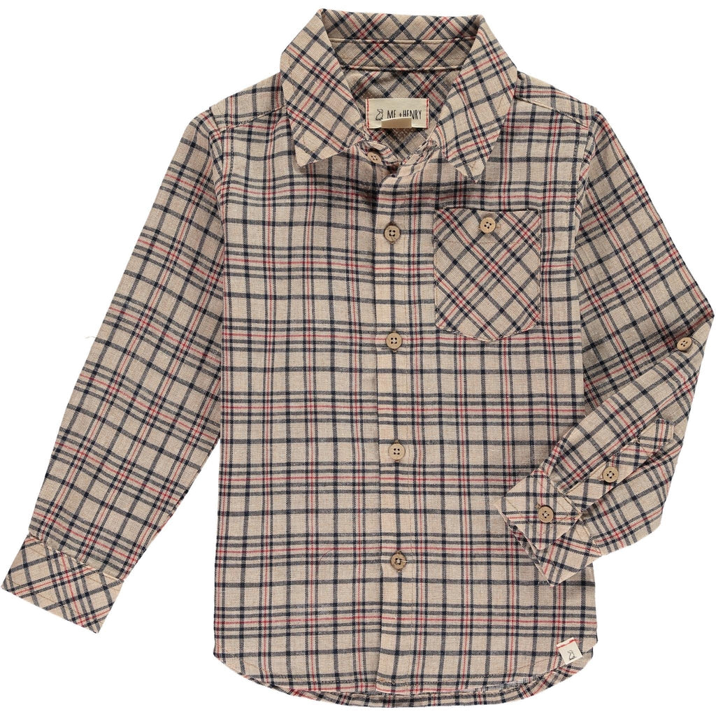 Long-Sleeved Plaid Shirt in Beige Beige / 2-3 years - Doodlebug's Children's Boutique