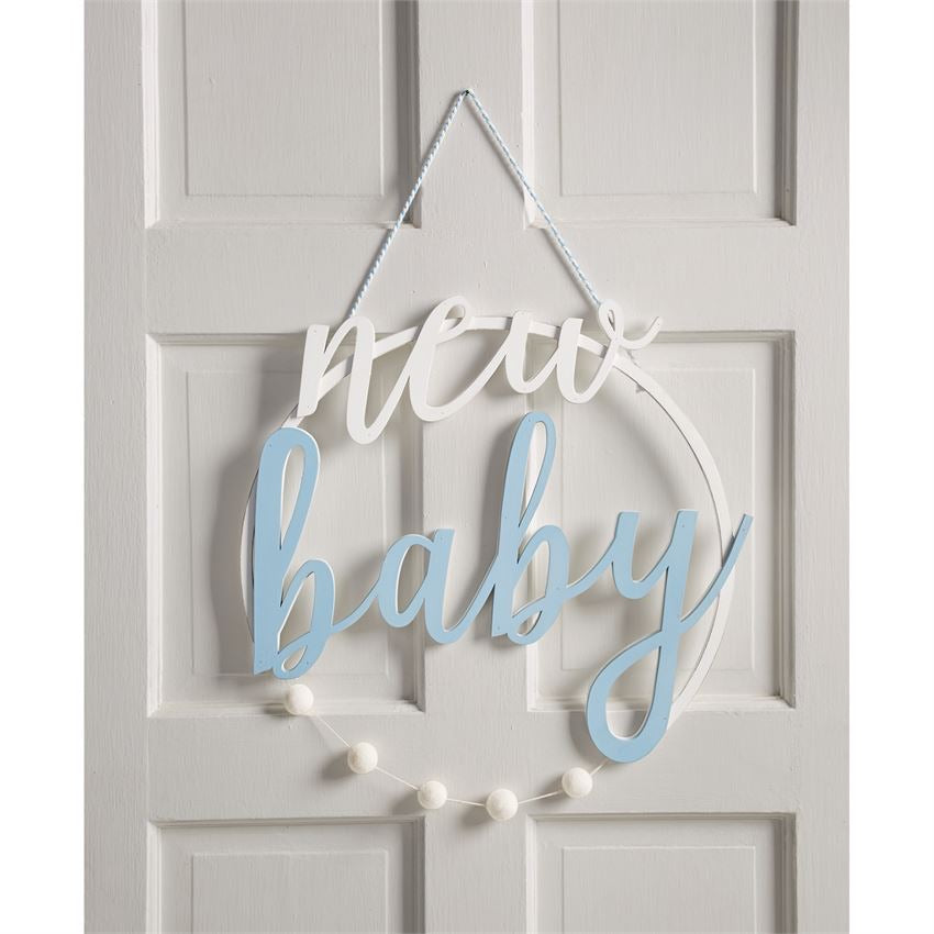 Blue New Baby Door Hanger  - Doodlebug's Children's Boutique
