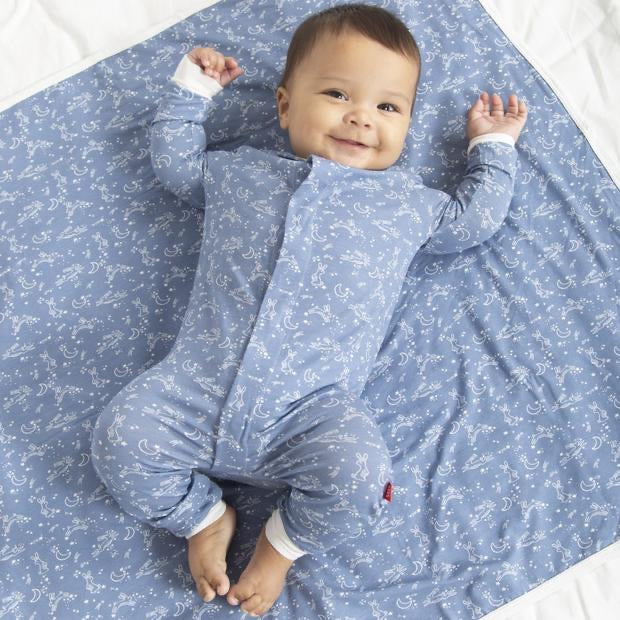 Blue Sky Bunny Magnetic Coverall  - Doodlebug's Children's Boutique