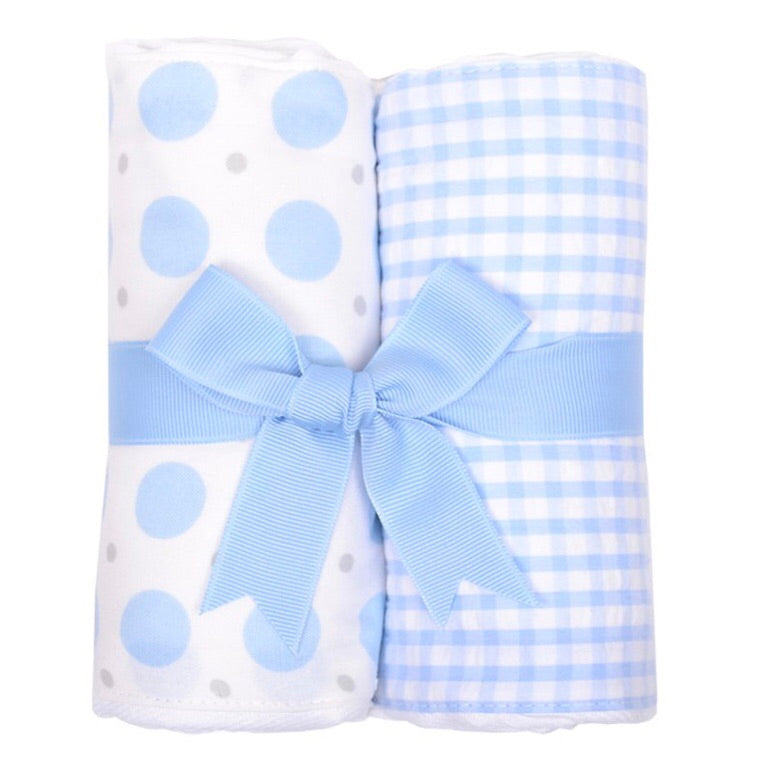 Blue Elephant and Blue Check 2 Pack Burp Pad Set Blue Elephant and Blue Check - Doodlebug's Children's Boutique