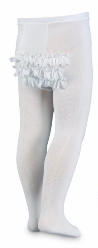 Tights with Lace Ruffle Bottom in White  - Doodlebug's Children's Boutique