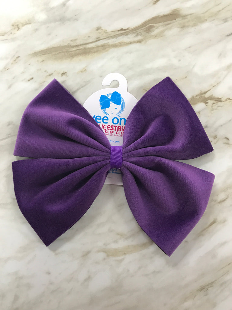 Purple Faux Velvet Bow Purple - Doodlebug's Children's Boutique