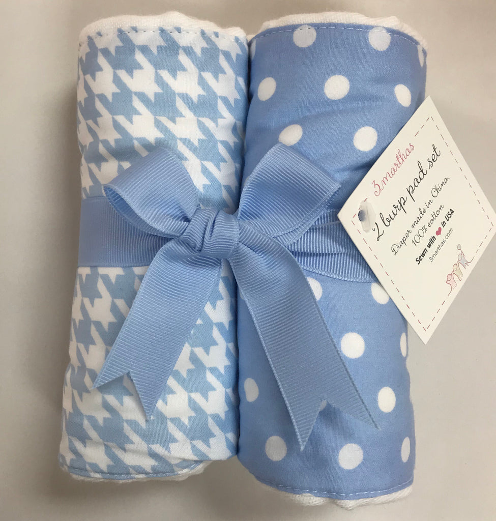 3 Marthas 2-Pack Burp Pad Set Blue Houndstooth and Blue Dot - Doodlebug's Children's Boutique