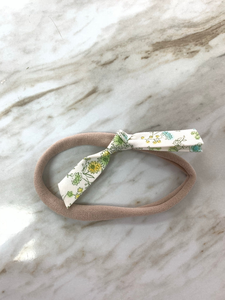 Hand Tied Knot on Nylon in Spring Floral  - Doodlebug's Children's Boutique
