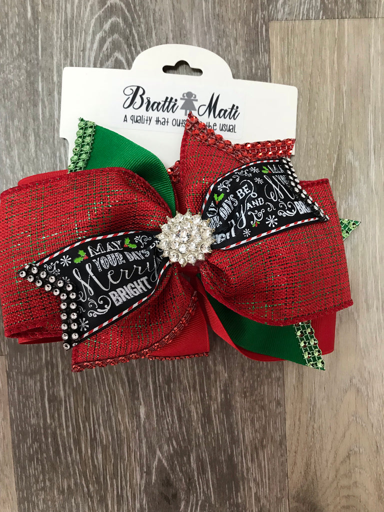 Bratti Mati Hair Large Embellished Hair Bow Christmas - Doodlebug's Children's Boutique