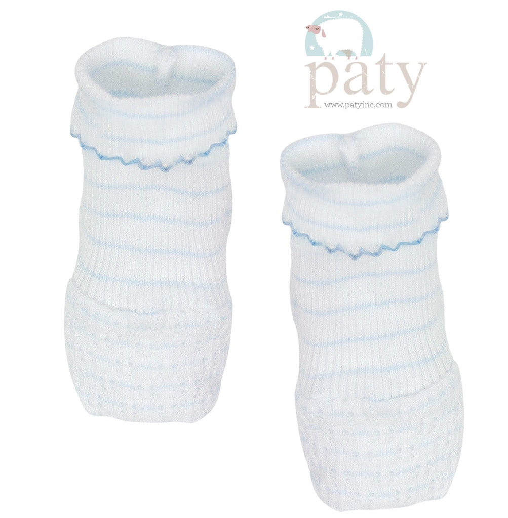 Blue Pinstripe Booties  - Doodlebug's Children's Boutique