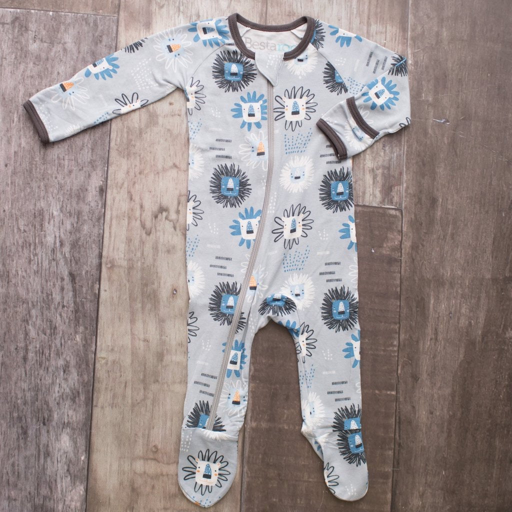 Blue Lions Zippered Footie Blue Lions / 0-3 months - Doodlebug's Children's Boutique