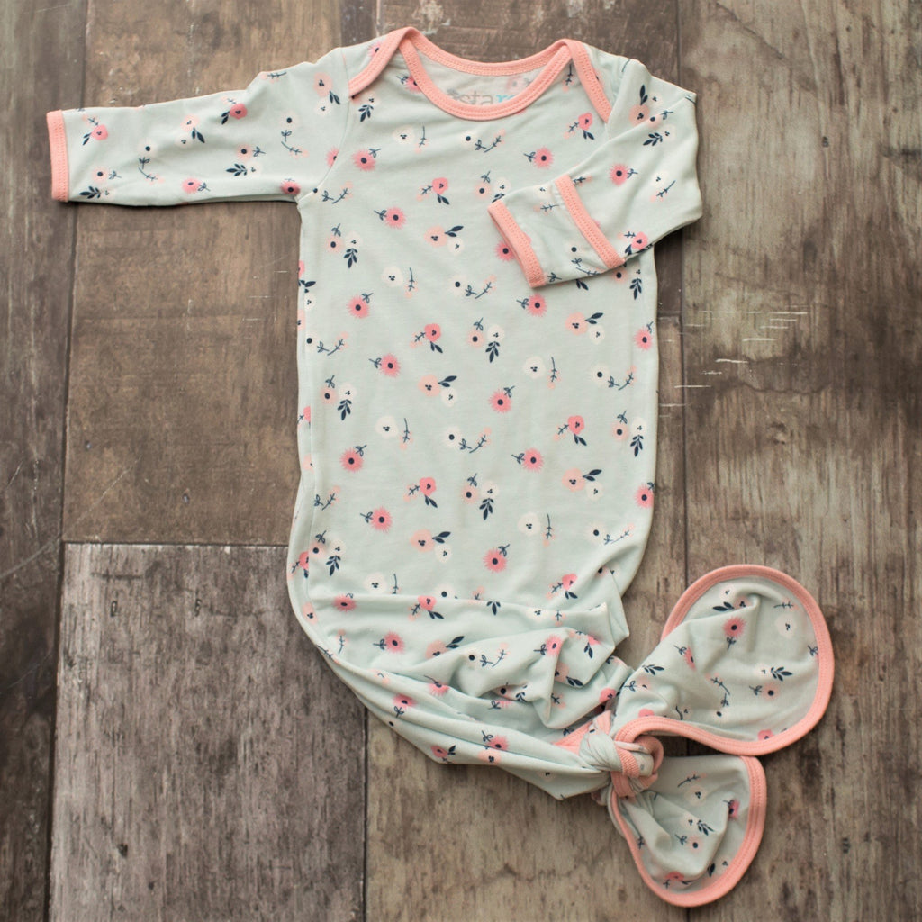Spring Bloom Knot Gown Spring Bloom Collection Knot Gown / 0-3 months - Doodlebug's Children's Boutique