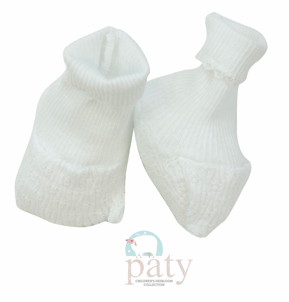 White Booties No Bow - Doodlebug's Children's Boutique
