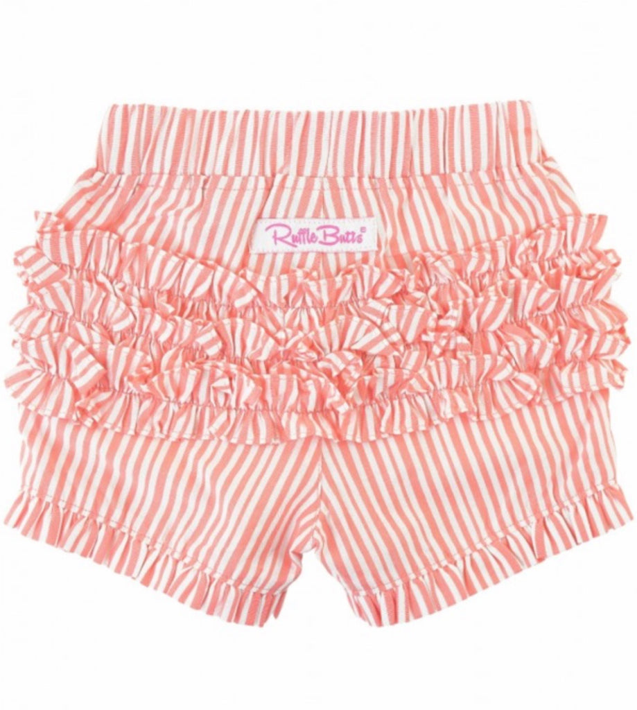 Coral Stripe Ruffle Shorts  - Doodlebug's Children's Boutique