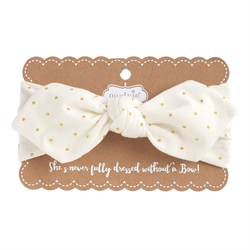 Ivory and Gold Knotted Bow Headband Ivory/Gold - Doodlebug's Children's Boutique