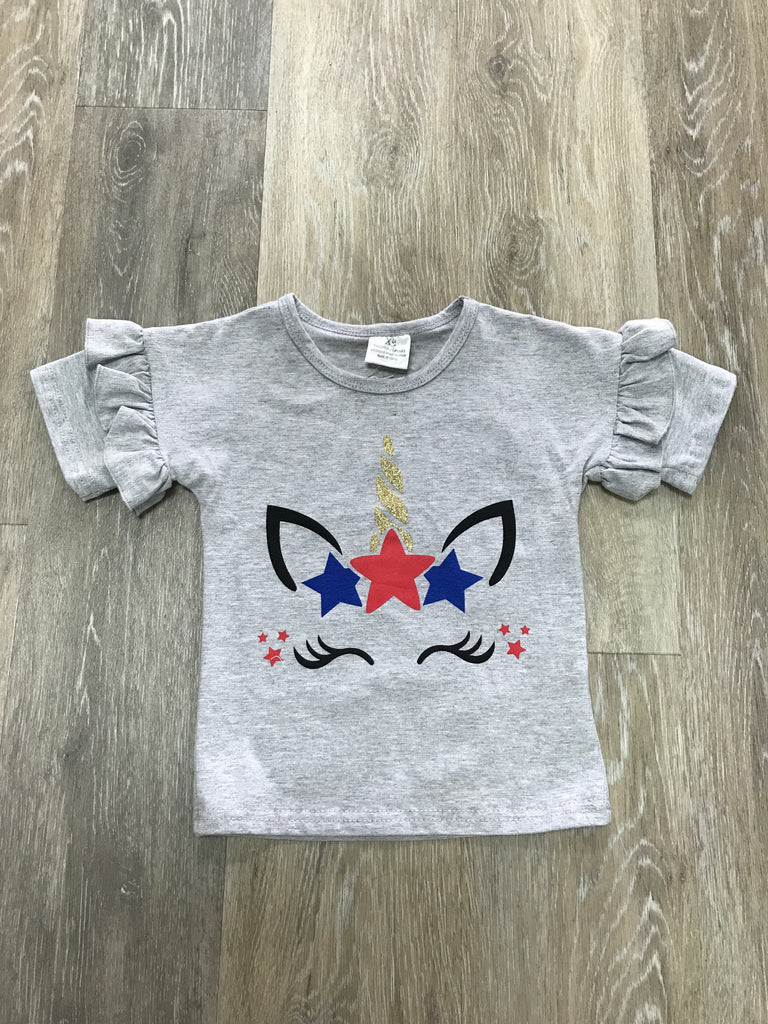Patriotic Unicorn Ruffle Sleeve Tee  - Doodlebug's Children's Boutique