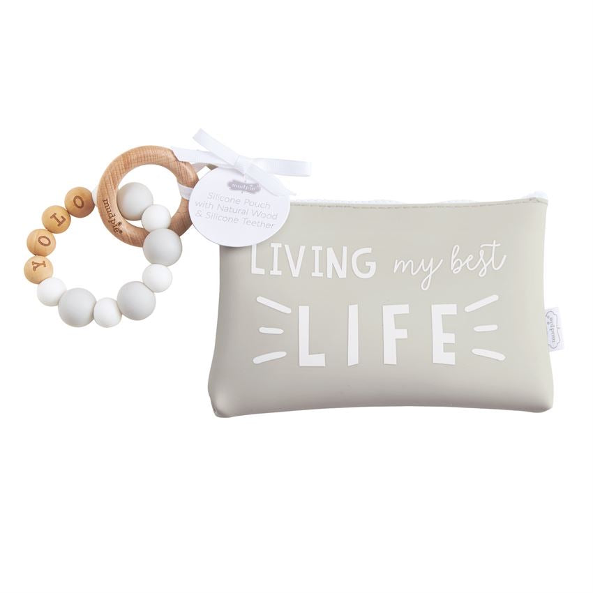 Gray Silicone Teether Pouch Set Living My Best Life  - Doodlebug's Children's Boutique