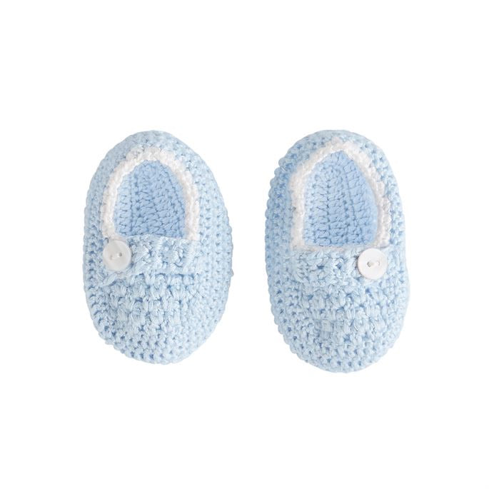 Blue Crochet Baby Booties  - Doodlebug's Children's Boutique