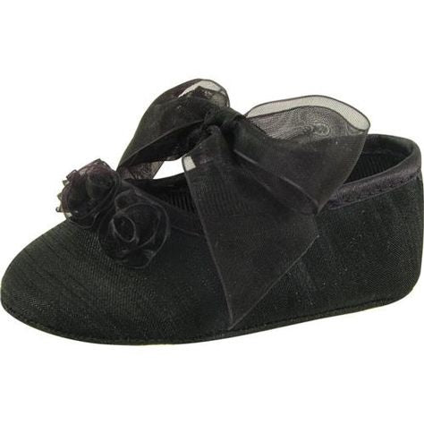 Baby Deer Black Shantung Slippers with Rosettes