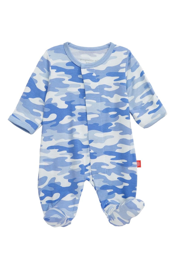 Blue Camo Chic Magnetic Modal Footie  - Doodlebug's Children's Boutique
