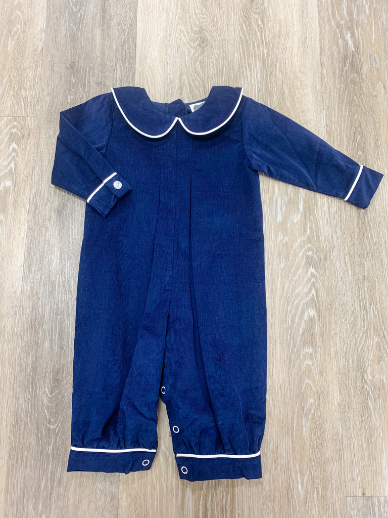 Navy Cord Pleated Bubble  - Doodlebug's Children's Boutique
