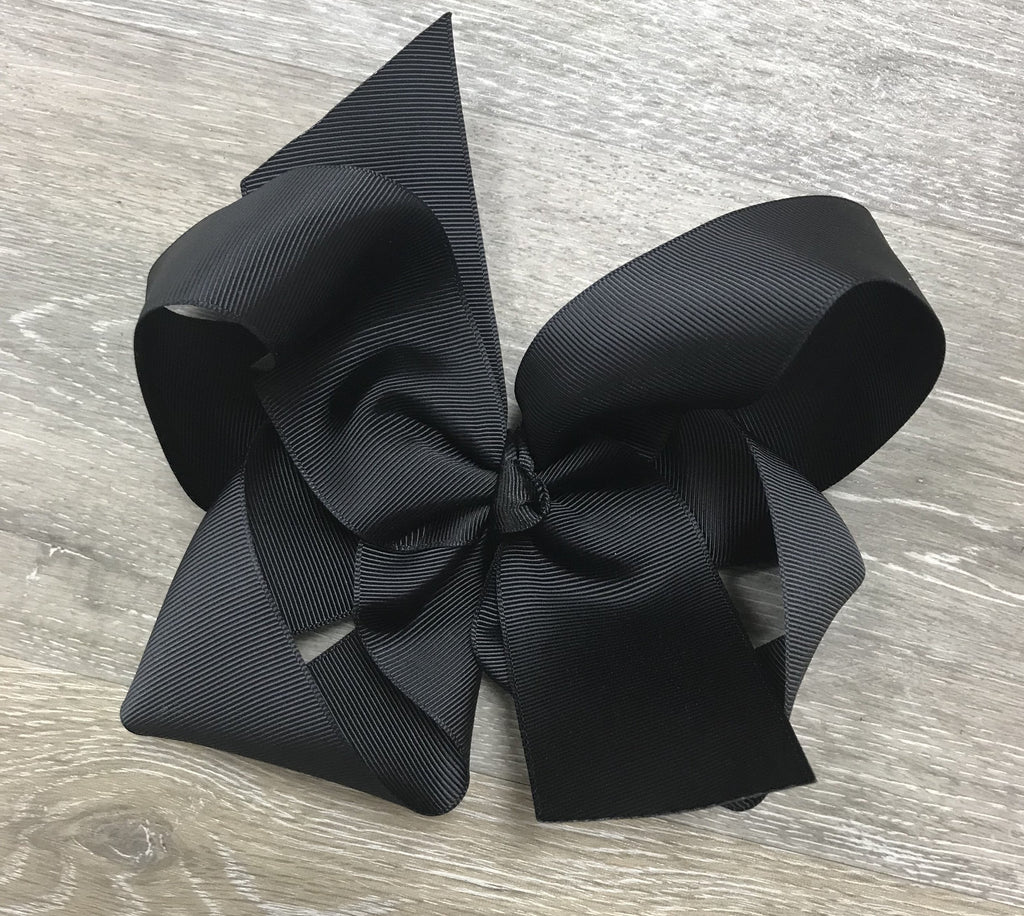 Large Solid Hair Bow in Black  - Doodlebug's Children's Boutique