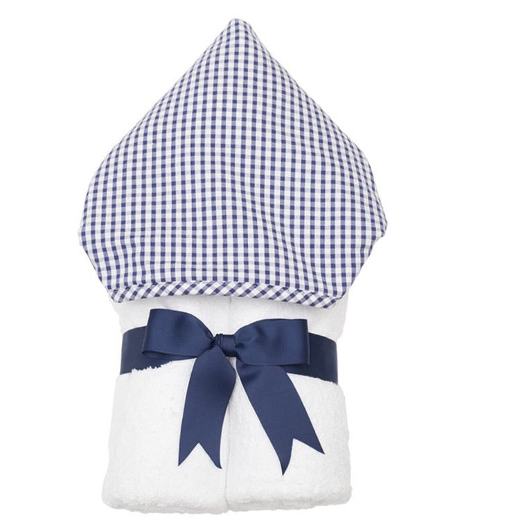 Navy Check Everykid Hooded Towel Navy Check - Doodlebug's Children's Boutique