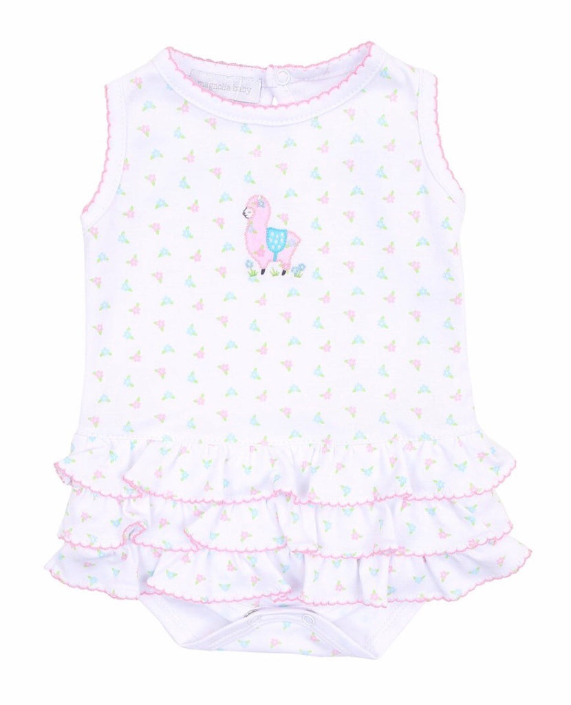 Magnolia Baby Baby Llama Embroidered Ruffle Bubble