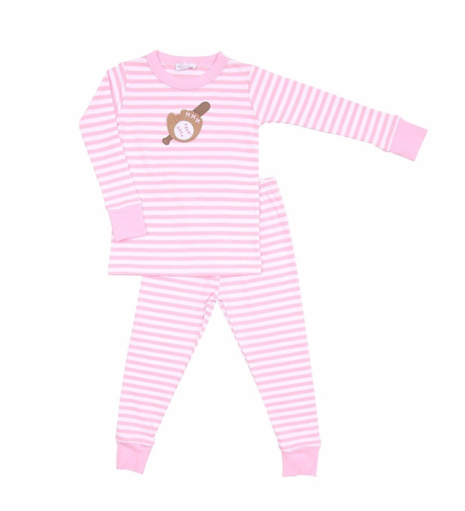 Magnolia Baby Baseball Appliqué Long Pajamas  - Doodlebug's Children's Boutique