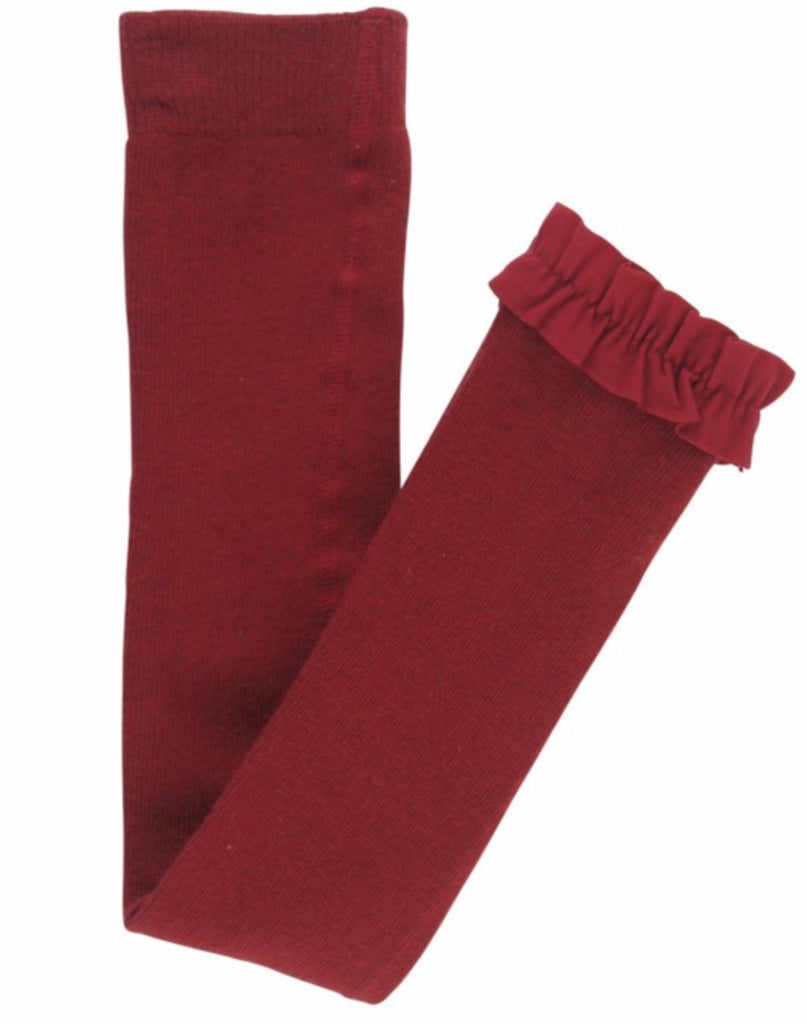 Cranberry Footless Ruffle Tights Cranberry / 12-24 months - Doodlebug's Children's Boutique