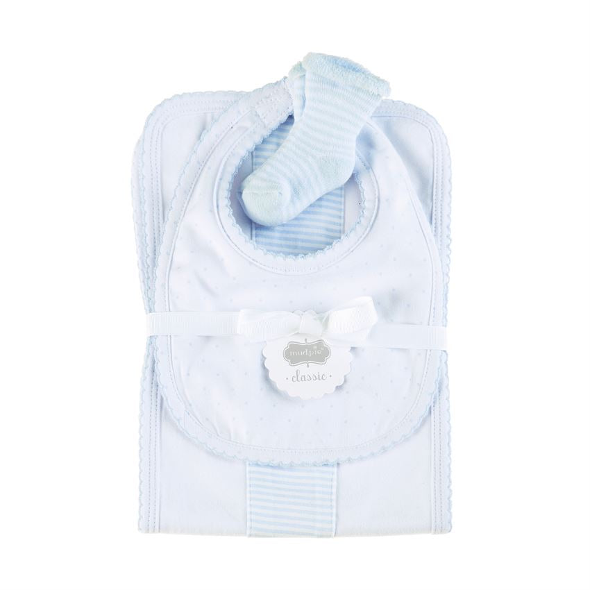 Mud Pie Blue Burp Bib and Sock Set