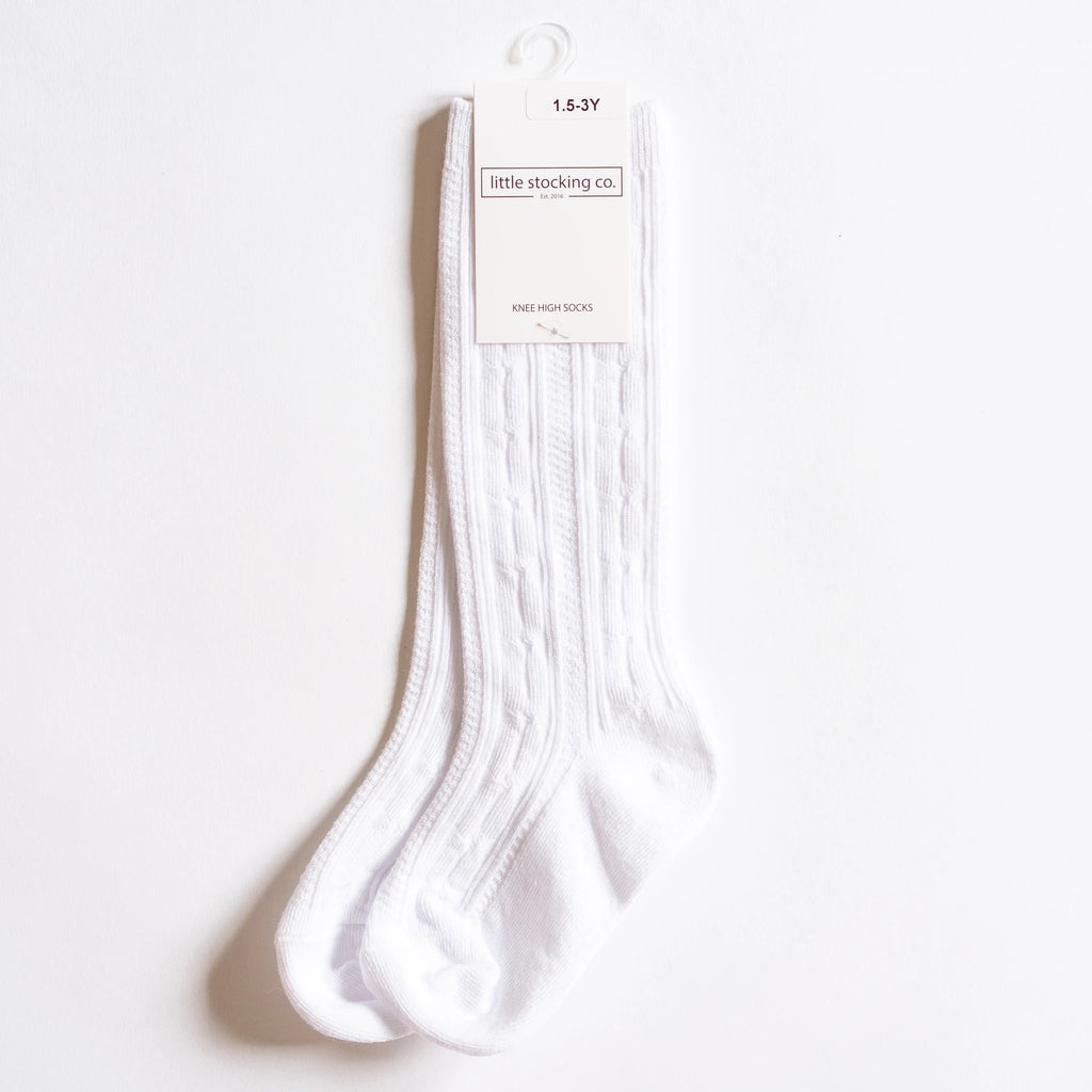 Cable Knit Knee High Socks in White  - Doodlebug's Children's Boutique