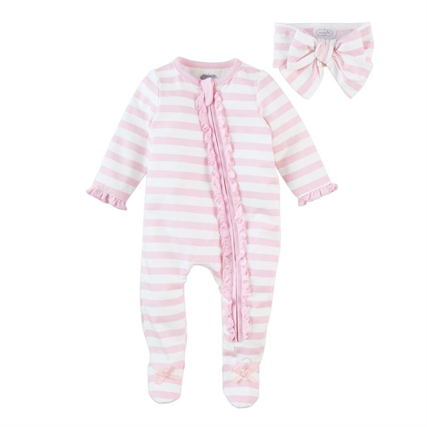 Mud Pie Stripe Sleeper with Headband  - Doodlebug's Children's Boutique