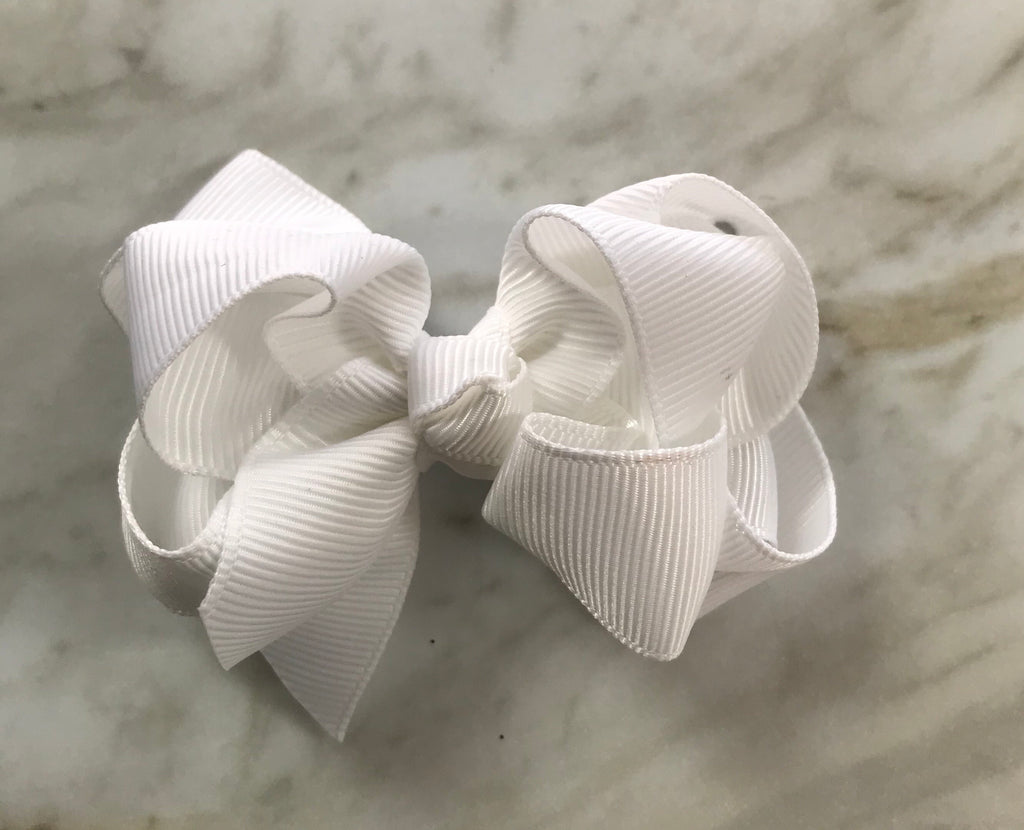 Small Double Bow White - Doodlebug's Children's Boutique